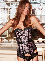 Satin and Lace Corset - Pink