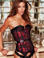 Satin and Lace Corset - Red