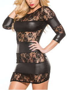 Wetlook & Lace Panel Dress