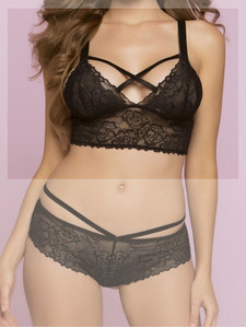 Rose Lattice Bralette i spets - Svart