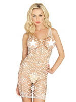 Bordeaux Net Bodycon Dress - Vit