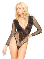Deep Floral Lace & Net Teddy